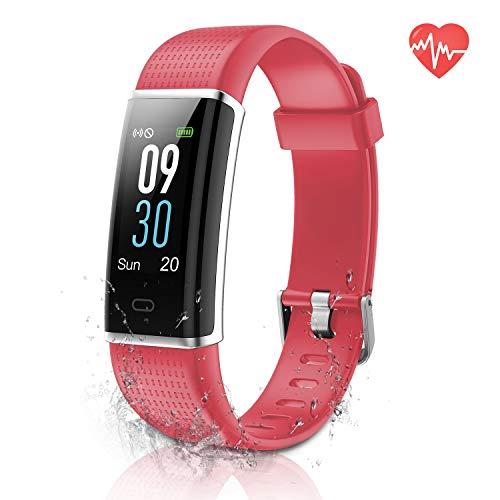 er, Aktivitäts Tracker mit Herzfrequenz/Schlafmonitor, Schritt/Kalorienzähler, Farb Touchscreen Fitness Uhr für Kinder, Frauen, IP68 wasserdichtes Smart Armband Pedometer (Red) ()