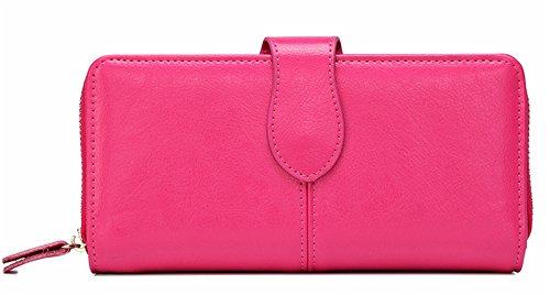 Xinmaoyuan Portafogli donna lungo portafoglio Wallet moda rétro Zipper Wallet semplice e pratica custodia in pelle borsa a mano,viola Rosa