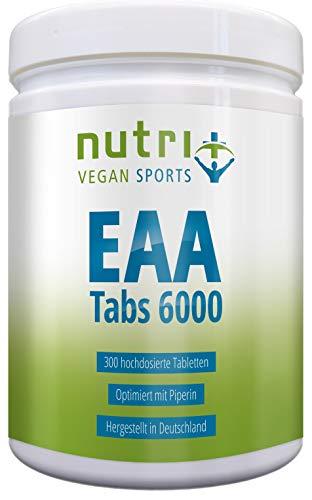 EAA Vegan Tabletten Neutral | 300 Mega Tabs à 1025mg hochdosiert & rein | essentielle Aminosäuren | EAAs ohne Magnesiumstearat | Nutri-Plus Sports
