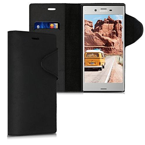 kalibri-Hlle-fr-Sony-Xperia-XZ-Premium-Echtleder-Wallet-Case-Schutzhlle-mit-Fach-und-Stnder-in-Schwarz