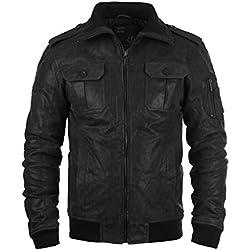 SOLID Fash - Chaqueta de Cuero para Hombre, tamaño:L;color:Black (9000)
