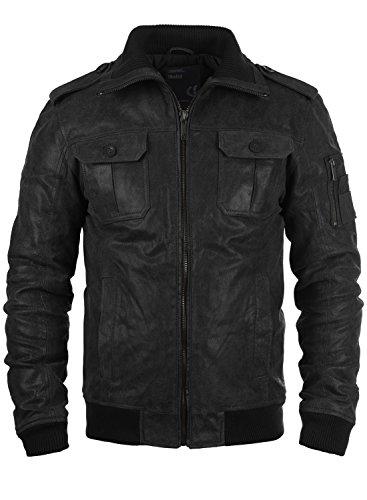 SOLID Fash Herren Lederjacke Echtleder Bikerjacke mit Stehkragen, Größe:L, Farbe:Black (9000)