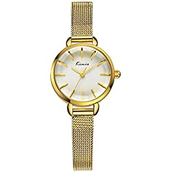 XLORDX Kimio Damen Armbanduhr Einfach Minimalismus Gitter Edelstahl Armreif Quarz Analog Uhr Gold