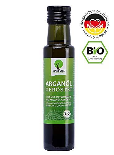 Bio Arganöl kaltgepresst geröstet in 250 ml Glasflasche - 100 % reines Speiseöl aus Marokko, veganes und naturbelassenes Argan Öl für die Feinkost Küche -
