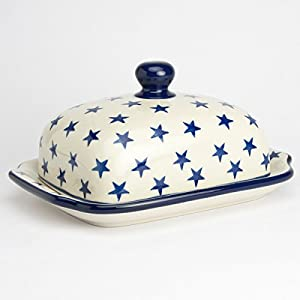 Polish Pottery Butter Dish Morning Star
