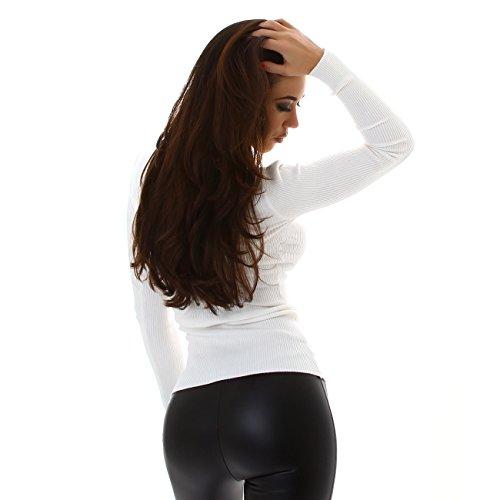 ENZORIA Damen Strickjacke kurz Pulli Pullover Tunika Kragen 34 36 38 Weiß