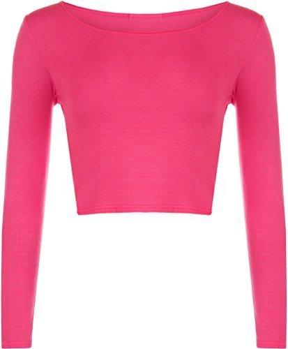 New Girl donna tinta unita Full a maniche lunghe rotonda girocollo Slim Fit skinny mini crop top corto maglietta taglia S/M m/L Ciliegia