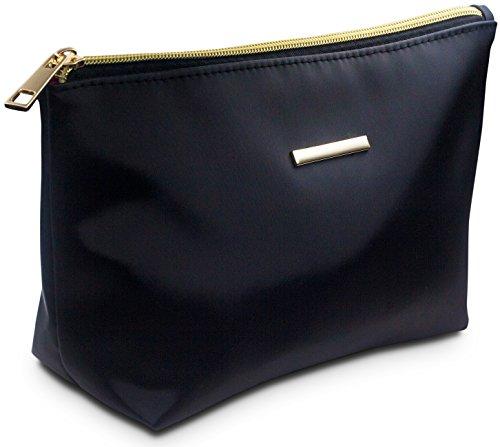 Travando ® Kleine Kosmetiktasche | Schminktasche schwarz | Make Up Tasche | Beauty Bag für Kosmetik | Schminkbeutel für Makeup | Kosmetikbeutel | Cosmetic Bag | Kulturtasche, Kulturbeutel für Damen