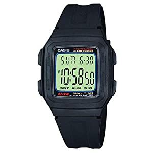 Casio Collection F-201W-1AEF, Reloj Rectangular, Correa de Resina, Unisex, Negro