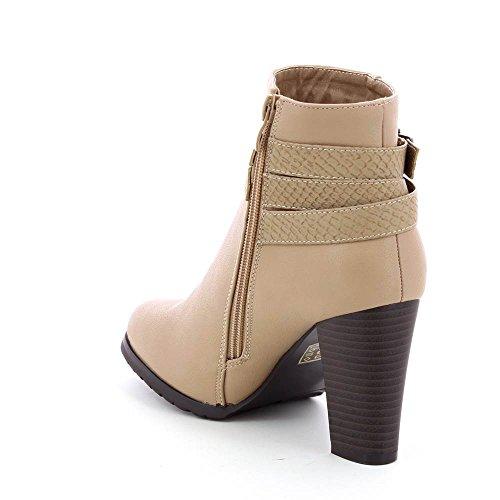 Go Mode - Stiefletten mit absatz und gürtel dekorativ stil python - Frau Beige