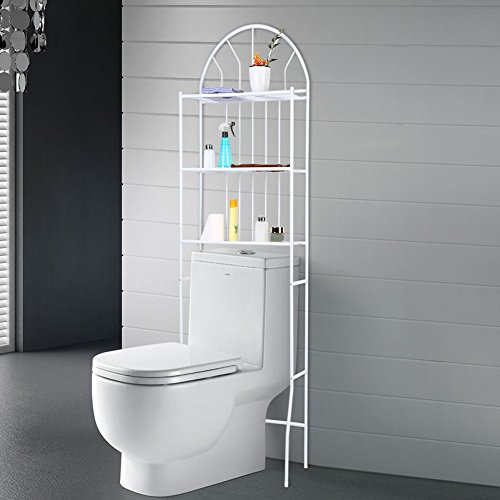 Toilettenregal, 3-Tier Weiß Multifunktional WC-Regal Badezimmer Regal Waschmaschinenregal, 176,5 * 62 * 33,5 cm