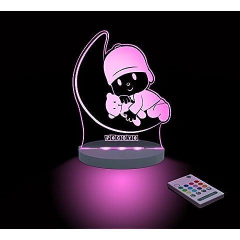 FUNLIGHTS Pocoyo Luna Lámpara Bebé LED Multicolor con Mando. Elige el Color, Intensidad, Temporizador, Arco-iris y ¡mucho