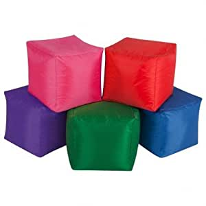 Pack of 5 Cube Bean Bags - Set of Bean Cubes - Multi-Coloured Bean Bags by Bean Bag Bazaar®