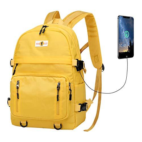 Rucksack Schultasche Mädchen Jungen Schulrucksack Laptop Daypacks Unisex Reiserucksack mit USB für Damen Herren(Gelb,ye)