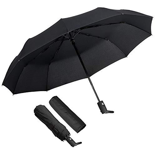 Parapluie Pliant, ECHOICE Parapluie Pliable Noir Automatique Ouverture et Fermeture Résistant à Tempête Compact Léger Parapluie de Voyage pour Homme e...