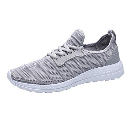 FNKDOR Unisex Turnschuhe Atmungsaktives Mesh Freizeitschuhe Herren Damen Leichte Sport Sneaker(40.5,Grau)