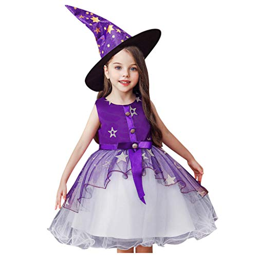 Monster Cute Kinder Kostüm - Romantic Kinder Baby Mädchen Halloween Kostüme Kurzarm Cosplay Kleid Prinzessin Kostüm Kleider mit Bowknot und Sternen, Hexe Hut 2er Set Fancy Dress Verkleiden Kostüme für Halloween (Lila 2, 120)