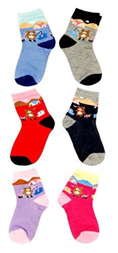 Neska Moda Cotton Rich Ankle Length Multicolor Kids 6 Pair Socks For 1-3 Yrs
