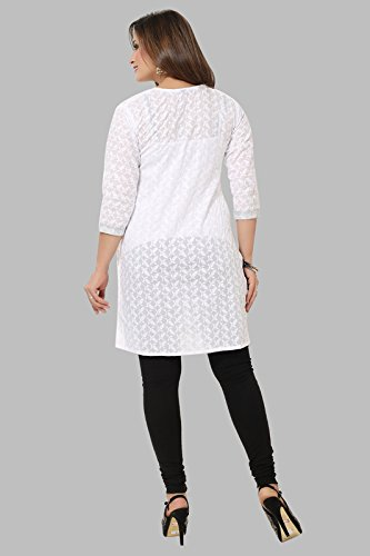 Womens-Formal-Casual-Cotton-Chikan-White-Kurti-by-DD