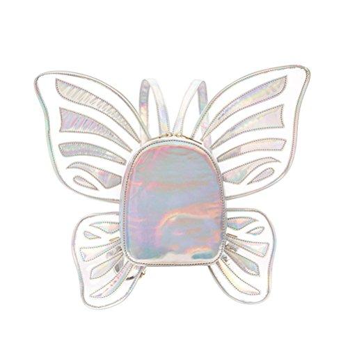 Tinksky Frauen Laser Schmetterling Rucksack Satchel Angel Wings -