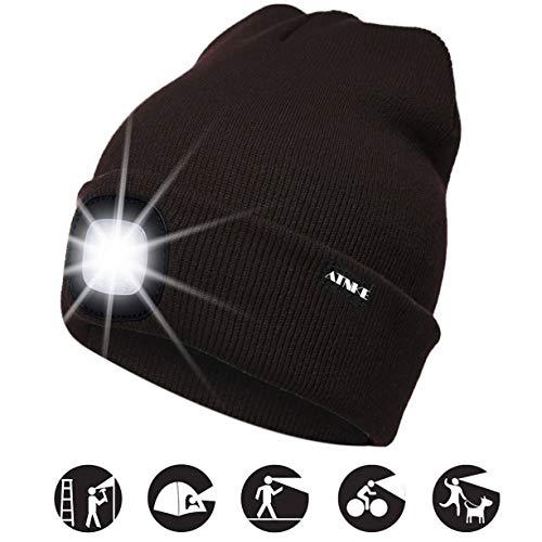 ATNKE LED beleuchtete Mütze, wiederaufladbare USB-Laufmütze mit extrem Heller 4-LED-Lampe und Blinkender Alarmscheinwerfer/Kaffee