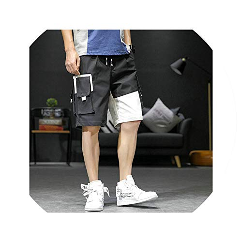 Harajuku Cargo Shorts Men Pocket Casual Patchwork Tactical Military Short Pants Knee Length Hip Hop Male Short Jogger Streetwear,Black,M -