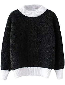 [Patrocinado]Luckycat Prendas de Punto Jerséis Cuello Redondo Casual para Mujer Color de Costura Suéter Blusa Tops