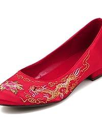 PDX/de zapatos de mujer seda talón plano cerrado Toe Flats boda/fiesta y