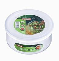 Pyrex 1041502 Cook&Freeze Plat Rond Multi Fonction de Contenance avec Couvercle Verre Transparent/Blanc 16 x 16 x 8 cm