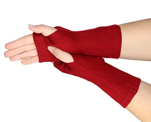 prettystern Pulswärmer Unifarbe Handschuhe Fingerlos Hand-fingerlose Stulpen 100% Kaschmir Weich Warm Burgundrot Dunkel-rot