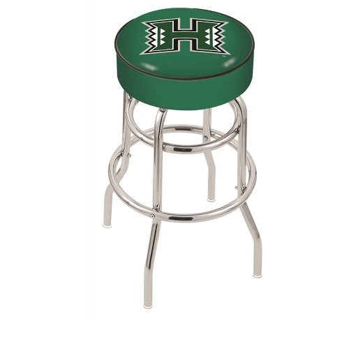 Holland Bar Stool 30 L7C1 - 4 Hawaii Cushion Seat with Double-Ring Chrome Base Swivel Bar Stool by Holland Bar Stool - Chrome Base Ring