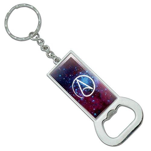 Atheist Atheismus Symbol in Space Rechteck verchromtem Metall Flasche GAP Opener Schlüsselanhänger Ring