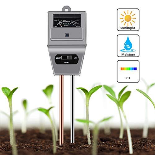 GRACEON Graaceon 3-in-1-Bodenfeuchtigkeitsmesser, Feuchtigkeitsmesser, Sonnenlicht, pH-Boden-Test-Kits für Haus und Garten, Innen- und Außenpflanzen (Wasser-test-kit Zu Hause)