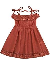 7f164c5c4a8e5 Siswong ❤️Robe de Filles Robe de Princesse de Filles de Dentelle Robe de  Dos Enfants