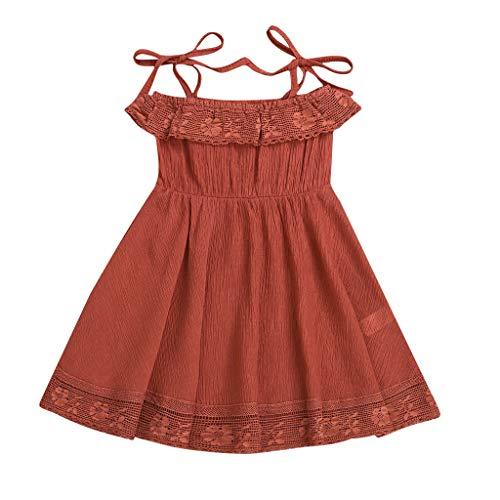 Kaffee Verwandte Kostüm - Livoral Mädchen Spitze Patchwork Prinzessin Kleid Sommer Junge Kinder Kleidung Baby Party Kleid Strand Rock(Kaffee,80)