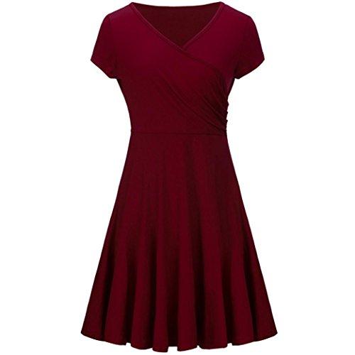 UFACESolides DüNnes Kurzarm-Kleid FüR Damen Mode Frauen Eine Linie Kleid Mit V Ausschnitt Kurzarm Abend Party (M, Wein)