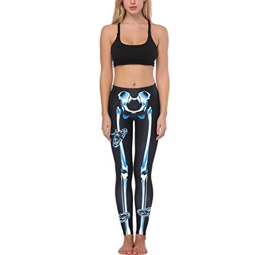 Success_halloween donne osso stampare yoga fitness leggings in esecuzione pantaloni sportivi elasticizzati role playing masquerade bodysuit vintage di moda halloween tuta (blu,free size)