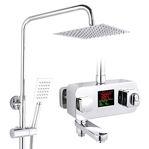 H.JPT Regenduschset, Duschsystem mit Digitalanzeige, einschließlich Duschkopf, Handbrause und Badewannendüsenarmatur, Chrom poliert, quadratisch Solar Screen Kits