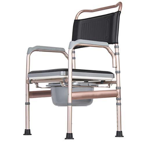 KPL-Kommode Deluxe Nachtkommode Duschstuhl 3 in 1 Bariatrischer Toilettensitz mit gepolstertem Kissen rutschfeste Beinauflage Höhenverstellbar Wiederherstellung der Chirurgie für die einfache Übertr -