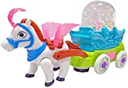 Popsugar Musical Bump and Go Bubble Carriage with Horse and Flashing Lights Toys for Boys and Girls, Blue