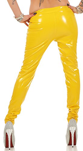 Lackoptik-Hose Gr. 32-50 (S - 6XL) Lack-Look * Gothic Fetisch Übergröße plus size Damenhose Leggings Leggins Damen Gelb