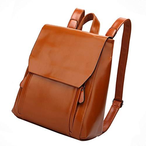 NANIH Home Frauen Mädchen Rucksack Vintage PU Leder Sackpack Motorrad Rucksack Schulter Tote Bag Handtasche (Color : Brown) -