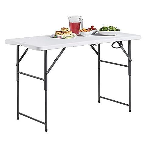 VonHaus 4ft (1.2m) Adjustable Height Folding Trestle Table for Picnic,