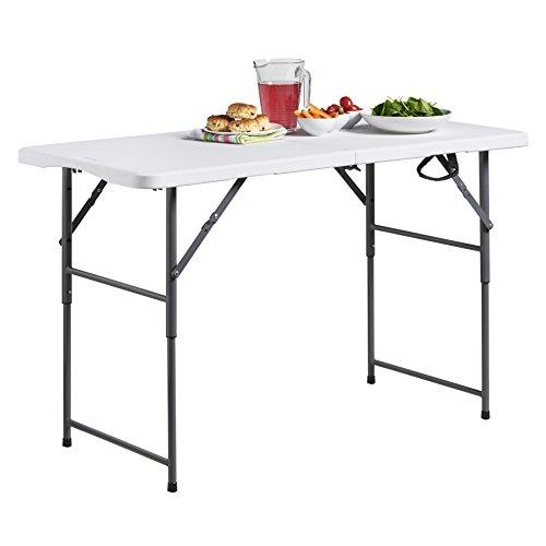 VonHaus Table tréteaux pliante réglable en hauteur de 1,2 m (4ft) pour le pique-nique, le jardin, la plage, le camping ou les fêtes - en acier galvanisé et en plastique durable extra résistant