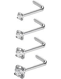 Sailimue 20G 4 Pcs Acier Inoxydable Piercing Nez Studs Courbé Piercing L Zirconium Cubique Bijoux de Corps 1.5-3MM