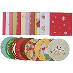 Tinksky Las tarjetas de felicitación de la Feliz Navidad 10pcs y los sobres 10 fuentes del partido de Navidad de los diseños invitan el regalo de cumpleaños de la Navidad para los amigos (Papá Noel)