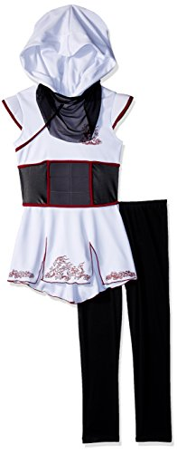 White Ninja Kids Kostüm - Girls White Ninja Fancy Dress Costume Medium