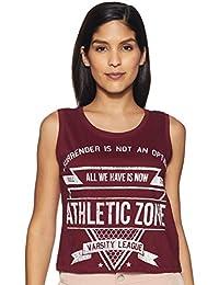 Ajile By Pantaloons Women's Tribal Regular Fit T-Shirt (110031280_Maroon_Medium)