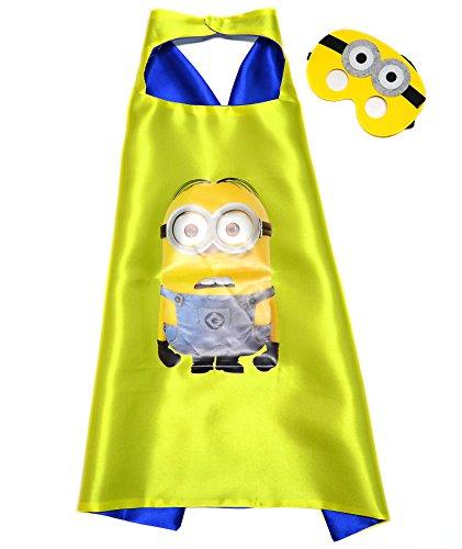 Minion Superhelden-Kostüme für Kinder - Minion Cape und Maske - Spielsachen für Jungen und Mädchen - Kostüm für Kinder von 3 bis 10 Jahre - für Fasching oder Motto-Partys! - (Kostüm Mädchen Minion)