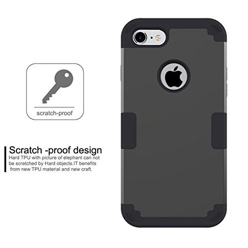 GHC Cases & Covers, Für iPhone 7 Trennbare Kontrastfarbe PC + Silikon Kombi-Gehäuse ( Color : Purple ) Black